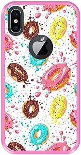 Hapdey Funda Rosa para [ iPhone X - XS ] diseño [ Donuts con Chocolate y chispitas de Colores ] Carcasa Silicona Flexible TPU