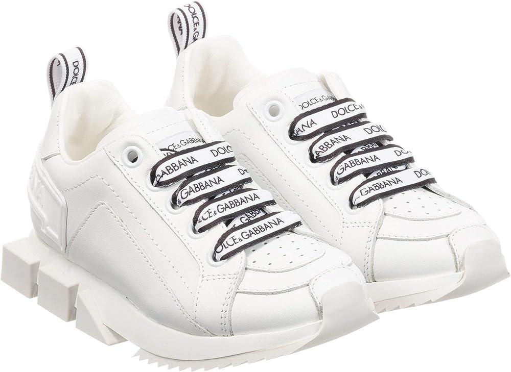 Dolce & gabbana scarpe con logo in pelle Bambino