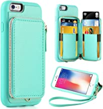 ZVE Case for Apple iPhone 6s and iPhone 6, 4.7 inch, Leather Wallet Case with Credit Card Holder Slot Zipper Wallet Pocket Purse Handbag Wrist Strap Protective Cover for Apple iPhone 6 / 6s - Blue