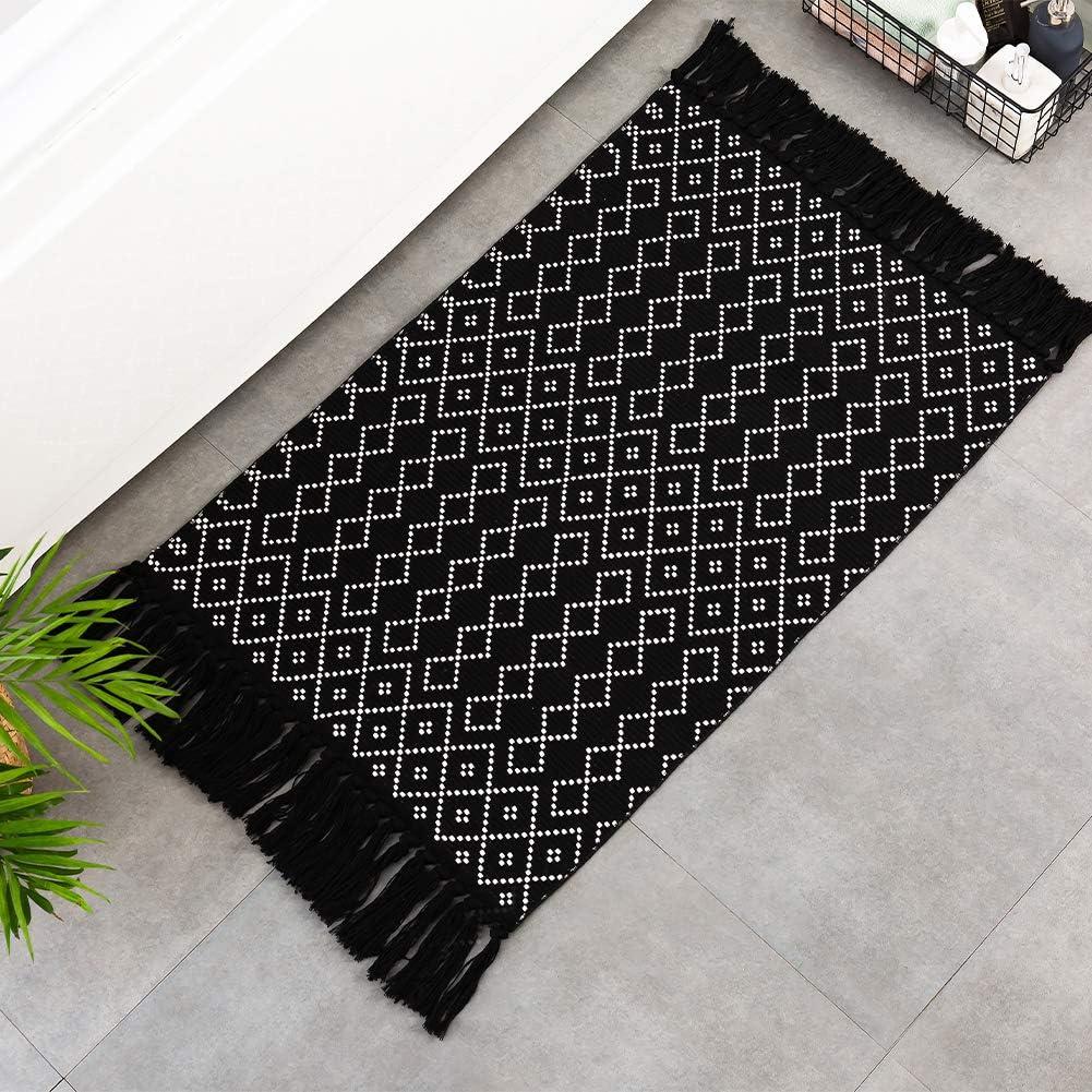 Buy Black Boho Kitchen Bathroom Rug 20'x20', Small Tassels Bohemian ...