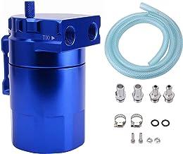 SYKRSS Universal Aluminum Car Truck Engine Oil Catch Can Tank Polish Baffled Reservoir Blue 300ml