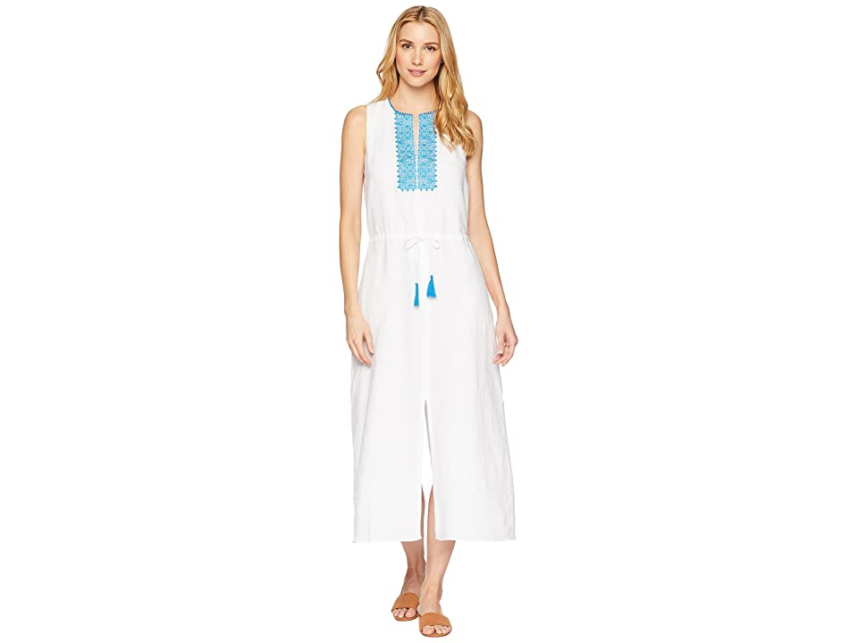 LAUREN Ralph Lauren Embroidered Linen Maxi Dress (White) Women