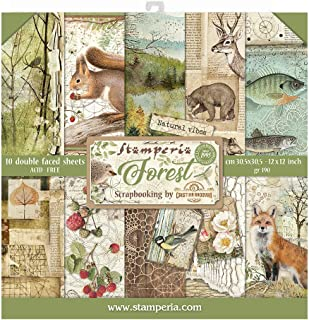 """STAMPERIA INTERNATIONAL, KFT PAPER PAD 12X12 10PK FOREST, 30.5 x 30.5 (12"""" x 12""""), Multicoloured"""