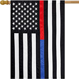 Briarwood Lane Thin Blue & Red Line Embroidered House Flag Police Fire Department 28