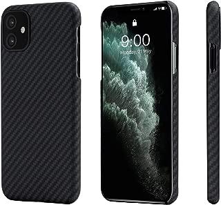 「PITAKA」iPhone 11対応ケースMagcase アラミド繊維 超薄(0.85mm) 超軽量(14g) 耐衝撃 ワイヤレス充電対応 (黒/グレ-ツイル柄)