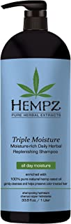 Hempz Triple Moisture-Rich Daily Herbal Replenishing Shampoo, Pearl Blue, Enchanted Grapefruit, 33.8 oz. - Hair Thickening Agent for Women and Men, All Natural, Proven Hydrating Shampoos