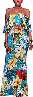 Vintage Ruffle Plain Floral Printed Off Shoulder Bodycon Long Party Maxi Dress