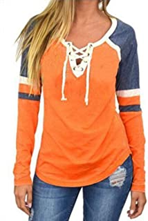 Women's Lace Up Front Long Sleeve Tops Striped Crew Neck Raglan Baseball Tee Shirt