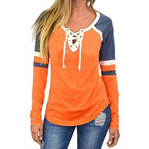 7ad3fd660ac394 Famulily Women s Lace Up Front Long Sleeve Tops Striped Crew Neck Raglan  Baseball Tee Shirt