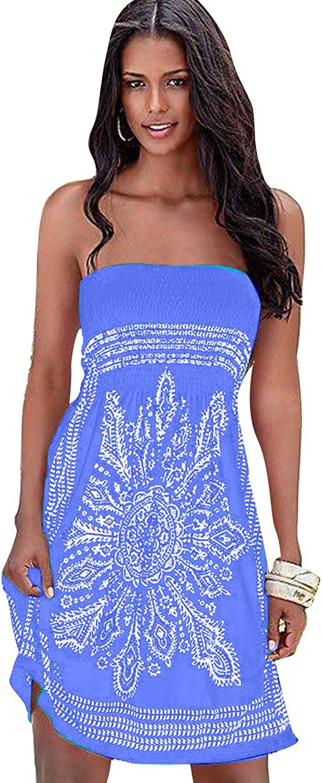 ZICUE Women Strapless Tube Short Dress Floral Print Bohemian Dress Boho Beach Dress