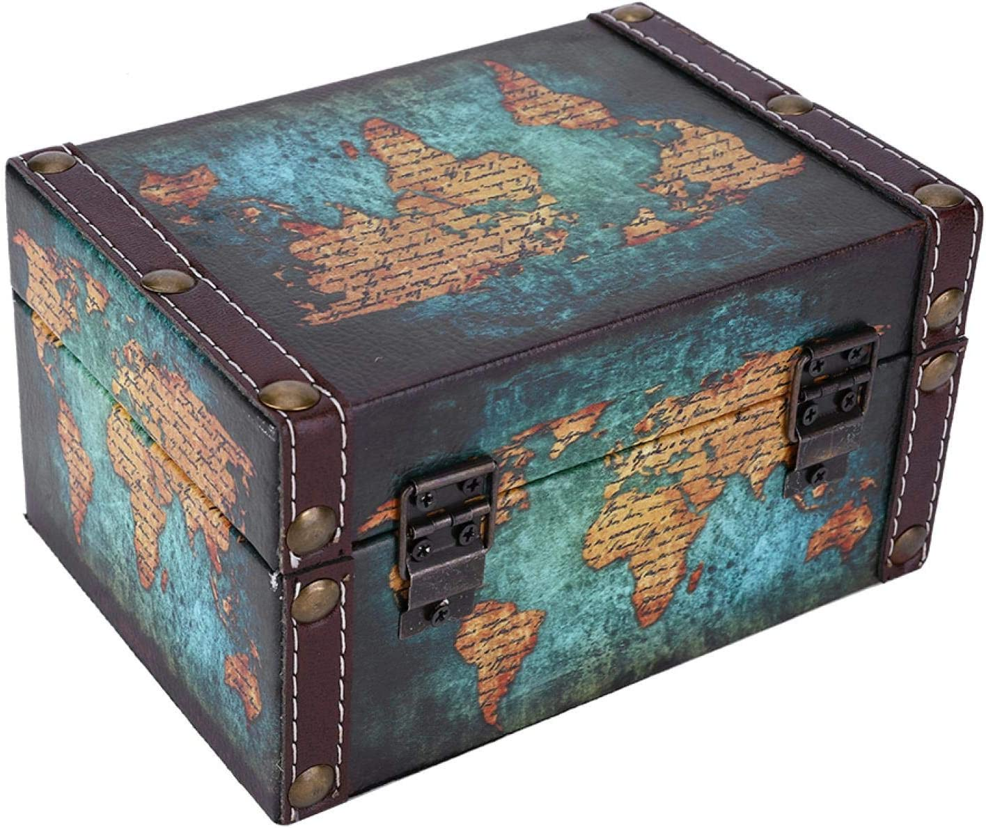 Caja de baratijas de Madera Duradera Organizador de baratijas SALUTUYA A Prueba de Polvo para el d/ía de la Madre para Anillos mam/á 2208A-06-Green Map