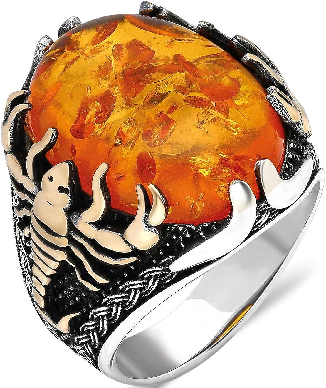 mysilverworld Solid 925 Sterling Silver おトク Amber Scorpion Stone 超人気 Fig