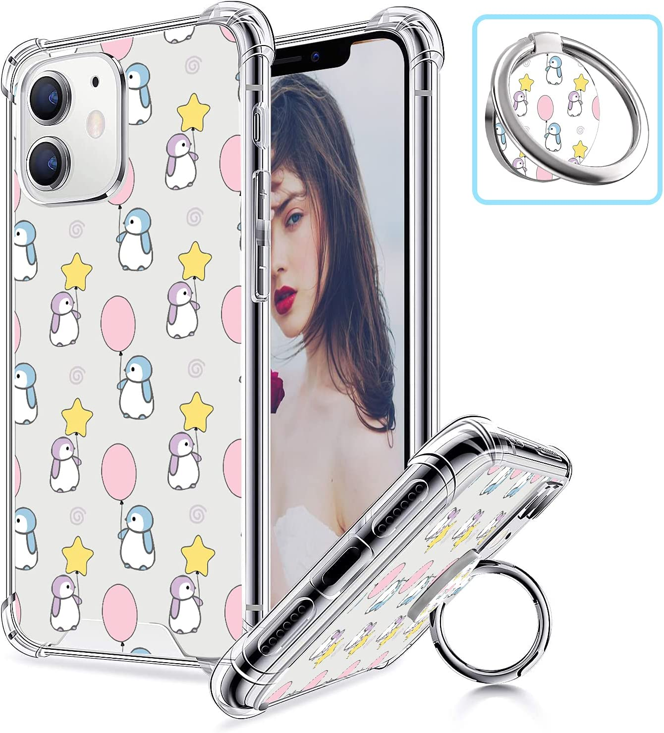 Creforkial Cute Balloon Penguin Phone Case for iPhone 11 with Ring Holder [ Back Case + Four Corner Reinforced Shockproof + Bumper Protective ] Clear Mobile Phone Cover with Design with Stand