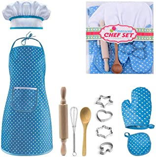 Kid Chef Costume Set Apron Hat Hand Mixer Rolling Pin Cookie Cutter Spoon Oven Mitt Cake Baking Set for Cooking Role Play ...