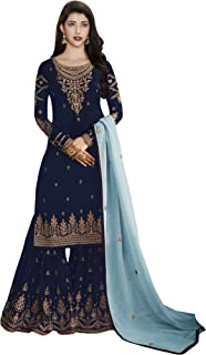 Comet Enterprise Women's Faux Georgette Sharara Salwar Suit (FN 22427; Blue; Free SIze)