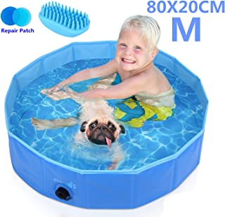 Pecute Dog Pool Foldable Dog Bath Pool Portable PVC Pet Bathing Tub Children Ball Pits Kiddie Pool Bathtub Wash Tub Water Pond Pool Paddling Pool for Dogs Cats and Kids (Bonus - Pet Bath Brush)