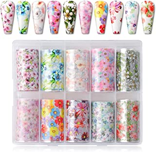 Makartt Nail Art Foil Transfer Stickers Nail Art Supplies Foil Transfers 10 Rolls Flowers Starry Sky Nail Decals Nail Extension Gel Art Decorations for Women Poly Nail Gel DIY Design 4cm 100cm Flowers