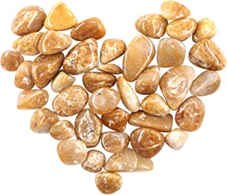 Swpeet 1 Pound Yellow Bulk Stones Large Gemstone Chips Crushed Pieces Irregular Shaped Stones Crystal Chips Stone Perfect for Jewelry Making Home Decoration