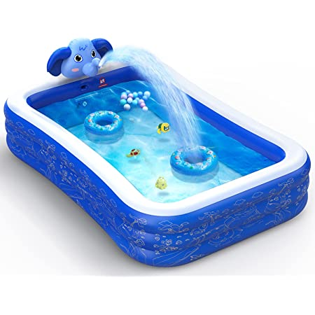 """Hamdol Inflatable Swimming Pool, Kiddie Pool with Sprinkler, 99"""" X 72"""" X 22"""" Full-Sized Family Blow up Pool for Kids Toddlers Adults, Lounge Above Ground Pool for Backyard Indoor Outdoor for Age 3+"""