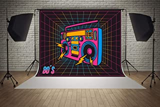 7ft(W) x 5ft(H) 80S Retro Pop Recorder Music Backgrounds Baby Shower Wedding Birthday Party Decorations Microfiber Photo Backdrop Studio Props