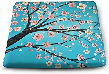 Square Cushion For Chair ,Pink Cherry Blossom Thicken Square Pillow Cushion Yoga Pillow Chair Pad Tatami Cushion Pillow For Reading Nook Office Vehicles Home Outdoor Bay Window Car Sitting One Size
