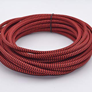 32.8ft Round 18/2 Rayon Covered Wire,HESSION Antique Industrial Electrical Cloth Cord,Vintage Style Lamp Cord Strands(Red and Black)