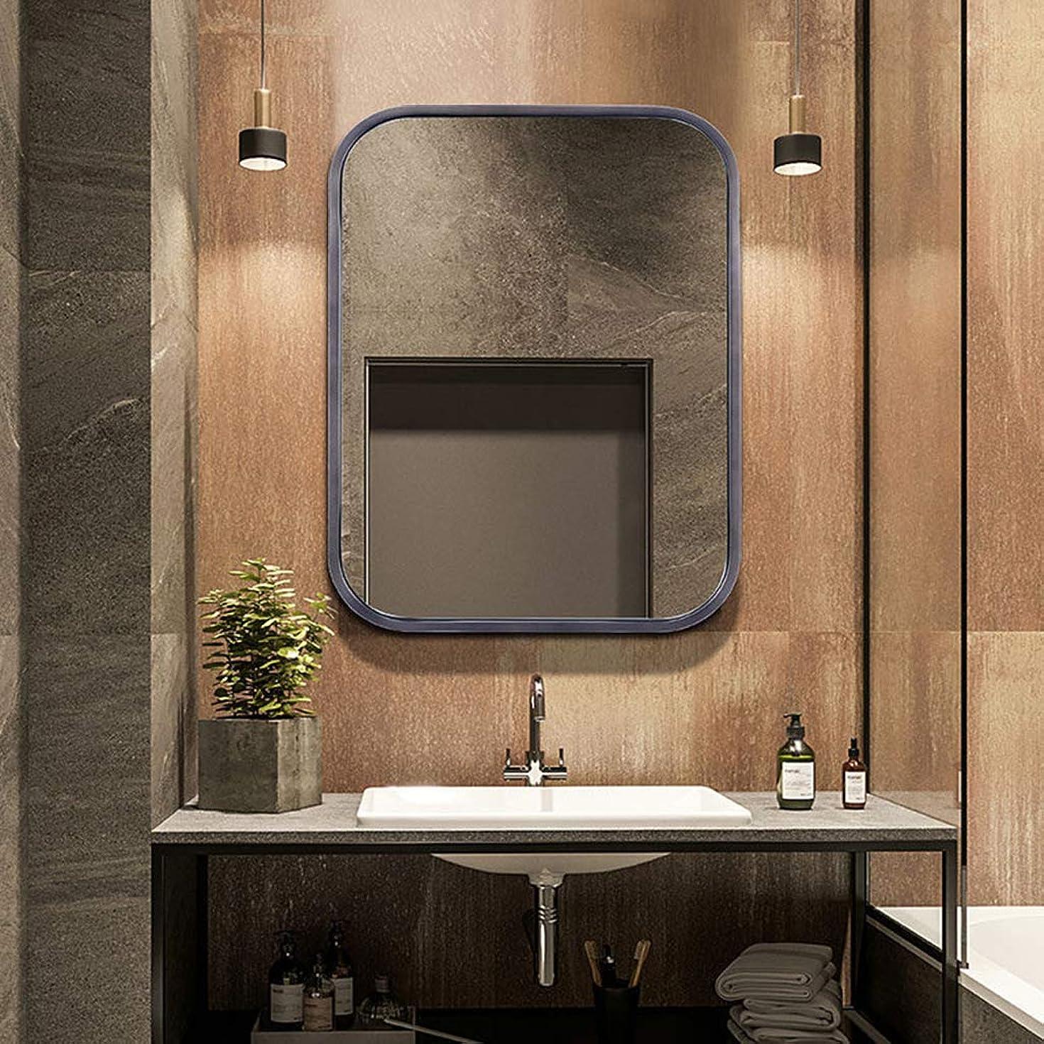 分解する鮮やかな魔術バスルームの鏡、金属製のシンプルなデザインと平らな長方形の壁 ?? - ドリル穴とクロムキャップの壁掛け付きミラー