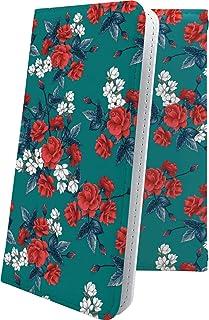 スマートフォンケース・Xperia J1 Compact D5788・互換 スマートフォンケース・手帳型 花柄 花 フラワー バラ エクスペリア コンパクト ハート love kiss キス 唇 XperiaJ1 ローズ 薔薇 バラ