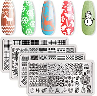 BORN PRETTY Nail Art Stamping Plate Christmas Winter Santa Snowflake Reindeer Tree Bell manicuring Print Template Image Plate