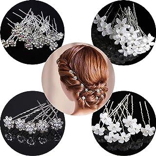 20 horquillas para el pelo de novia, accesorios para el cabello en forma de U, horquillas para el pelo con forma de flor d...