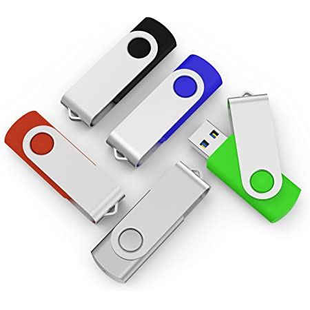 TOPESEL 5 Pack 64GB USB 3.0 Flash Drive Memory Stick Thumb Drives (5 Mixed Colors: Black Blue Green Red Silver)