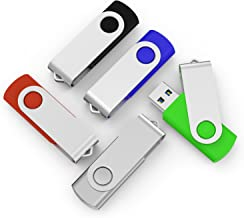 TOPSELL 5 Pack 16GB USB 3.0 Flash Drive Memory Stick Thumb Drives (5 Mixed Colors: Black Blue Green Red Silver)