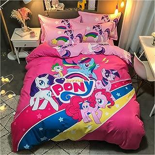 100% Cotton Duvet Cover My Little Pony Girls Kids Bedding Including 1 Duvet Cover + 1 Flat Sheet + 2 Pillowcase /4 Piece (A, Full(200X230)