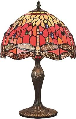 Tiffany Style Vintage européen de style vintage vitraghalfly et perle de couleur chaude de couleur lampe de bureau lampe de chevet LINGZHIGAN