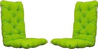 Ambientehome Lot de 2 Coussins pour Chaise à Dossier Haut Vert/Jaune 120 x 50 x 8 cm