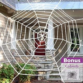 Pawliss Halloween Decorations, 11.8 feet Giant Spider Web with Super Stretch Cobweb Set, Halloween Outdoor Yard Decor, Round Dia, White