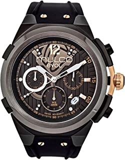 Evol Engine Quartz Swiss Chronograph Movement Men's Watch | Premium Analog Display with Rose Gold Accents | Silicone Watch Band | Water Resistant Stainless Steel Watch