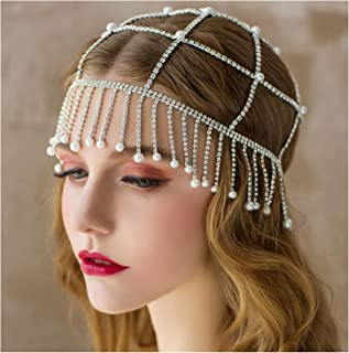 SWEETV Rhinestone 1920s Headpiece Silver - Flapper Headband Beaded Cap Art Decor 20s Accessories for The Great Gatsby Party