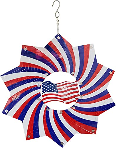 discount Patriotic American Flag sale Hanging Wind Spinner Kinetic Metal Wind Spinner Outdoor 2021 Garden Decoration 3D Crafts Ornaments Metal Wind Sculptures & Spinners Whirligig Gift for Independence Day, 12In online sale
