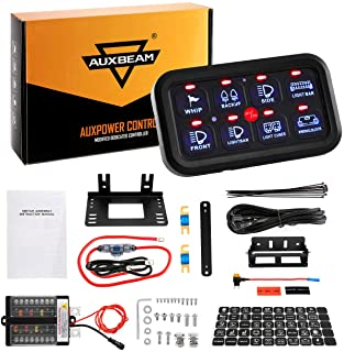 Auxbeam 8 Gang Switch Panel Automatic Dimmable LED On-Off Car Switch Panel Electronic Relay System LED Car Touch Switch Box Universal for Truck ATV UTV Boat Marine SUV Car - Blue Backlit