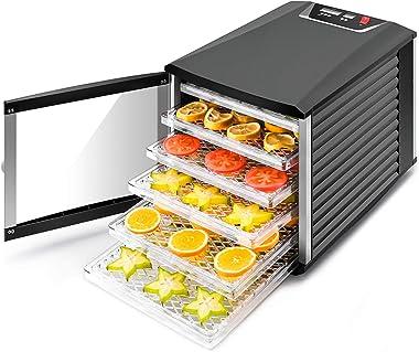 Jayetec Deshidratador profesional de alimentos, 6 bandejas con termostato digital y temporizador, fruta, verduras, carne, flo