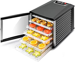 JAYETEC Professional Food Dehydrator, 6-Trays with Digital Thermostat and Timer, fruit, vegetables, meat, flowers, herbs, beef dryer,transparent front door & black,including 2 pcs non-stick sheets