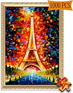 Jigsaw Puzzles 1000 Pieces Eiffel Tower Paris Tower by Leonid Afremov Artwork Art for Adult Grown Up Puzzles Large Size Toy Educational Games Gift Jigsaw Puzzle JigsawPuzzle 1000 PCS