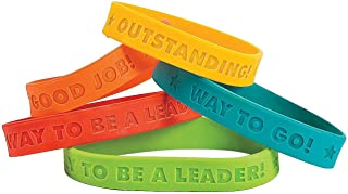 Fun Express 12 Count Reward Sayings Bracelets | Classroom Church School Birthday Parties Motivational Prizes Rewards