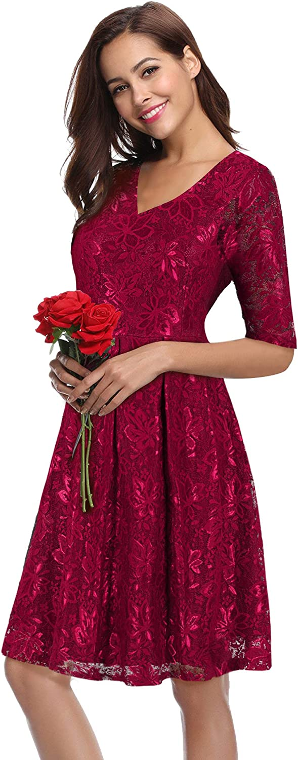 LECCECA Women Floral Lace V Neck Half Sleeves Fit and Flare Dress Cocktail Wedding Party with Pockets