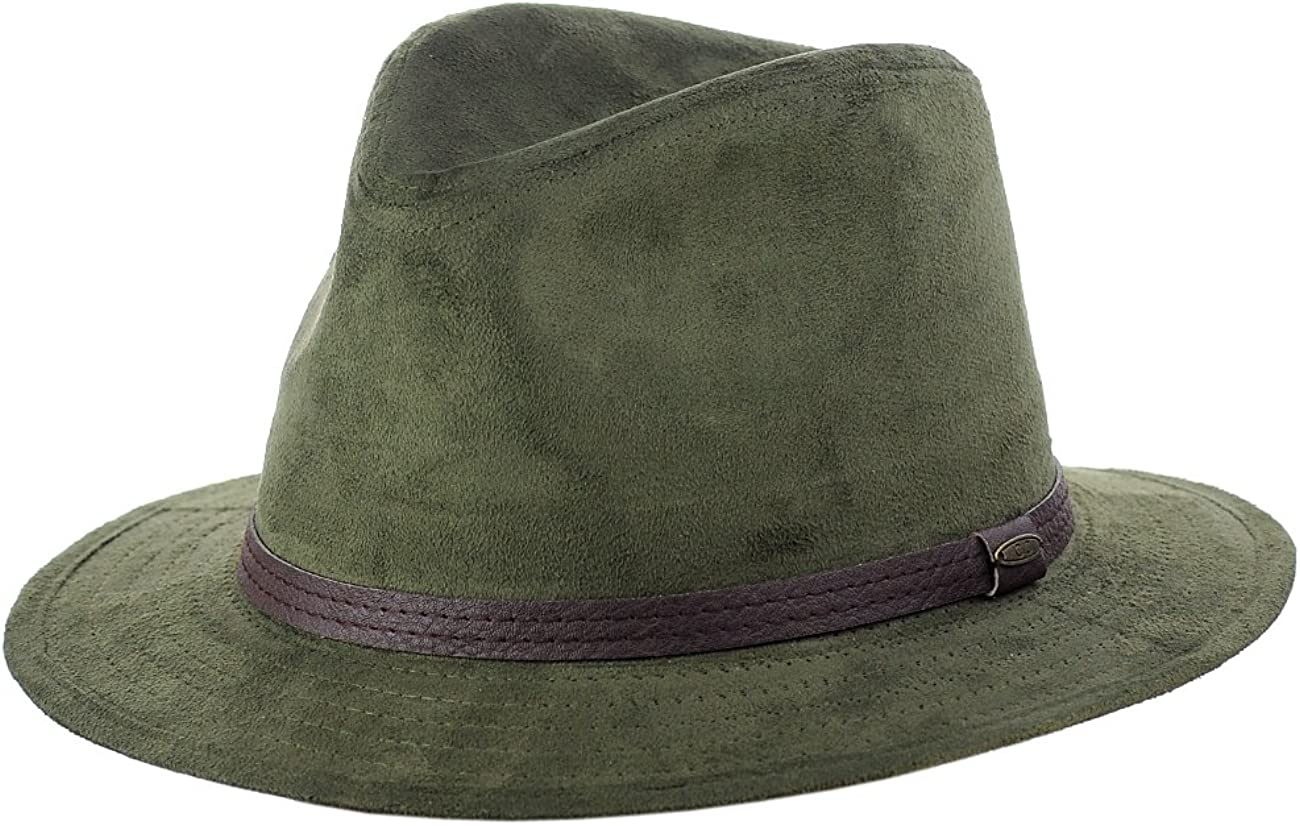 C.C Trendy Faux Suede Fedora Credence Trilby Hat Straight with Band Brim gift