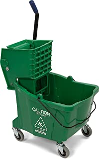Carlisle 3690409 Commercial Mop Bucket with Side Press Wringer, 35 Quart Capacity, Green