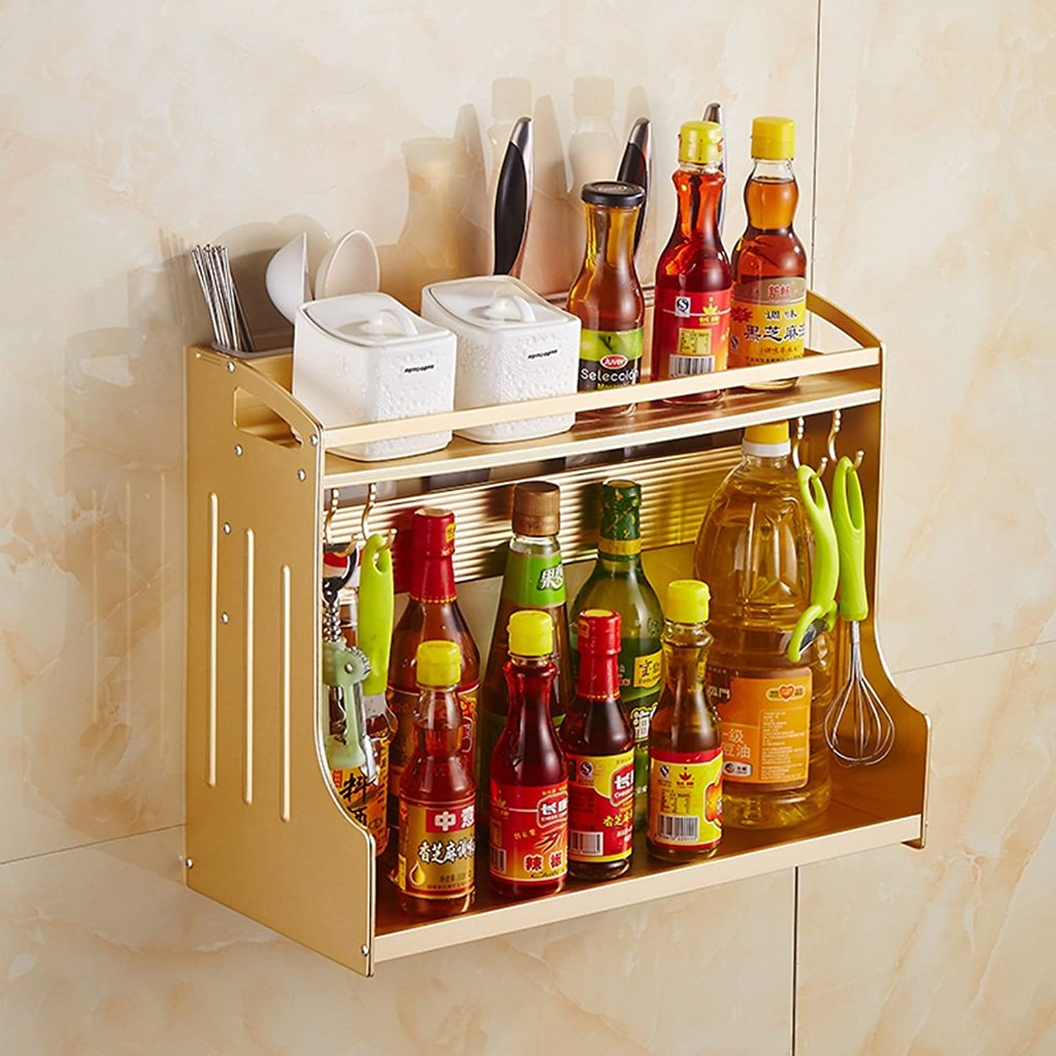 Kitchen Multifunctional Shelf - Double Layers Space Aluminum Kitchenware Storage Shelf Spice Shelf with Hooks and Chopsticks Spoon Storage Cup -by TIANTA (color   gold)