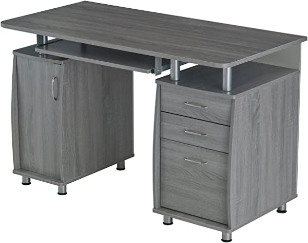 Urban Designs Multifunctional Office Desk With File Cabinet Grey