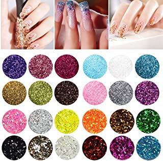 24pcs Holographic Cosmetic Glitters, KTOMO Multi-color Chunky Glitters Body Glitters for Face Hair Eye Make Up Nail Art